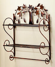 Bronze Whimsical Primitive Country Willow Tree Wall Shelf 2 Wires Bath Shelf