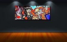 LEINWAND BILD XXL POP ART GRAFFITI ABSTRAKT MAUER WAND BUNT ZEICHEN KUNST 100x40