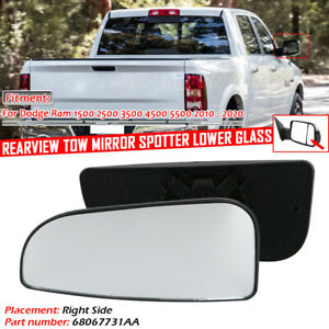 For Dodge Ram 1500 2500 3500 Right Side Rearview Tow Mirror Spotter lower Glass