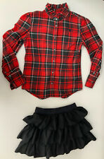 Ralph Lauren Girls Outfit, Set, Shirt & Skirt, Size Age 14 Years, Red & Black