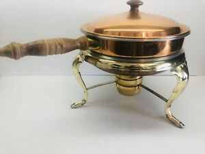 Vintage Copper & Brass Chafing Dish Warming Pan With Wood Handles & Stand