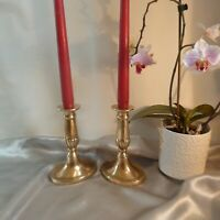 19TH CENTURY VICTORIAN BRASS CANDLESTICKS-MATCHING PAIR