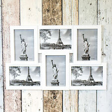 Wall Mounted White Plastic Collage 6 Multi Photo Picture Frame Photograph 4x6