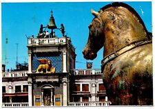 Venice Italy Postcard Torre Dell Orologio Clock Tower Statues Turmuh Unposted