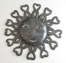 "Haitian Recycled Metal Drum Wall Art Rays of Sun Face 11"" Diameter 105SM424C"