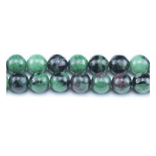 Green/Black Ruby In Zoisite Beads Plain Round 8mm Strand Of 45+