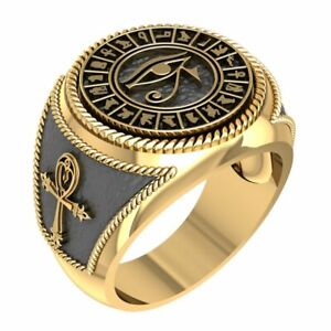 Ancient Egyptian Eye of Horus Ankh Cross Protection Ring for Men Brass Jewelry