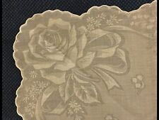 Antique Vtg Fabulous Rose Bouquet Organdy Cotton Floral Handkerchief Hanky Ha29