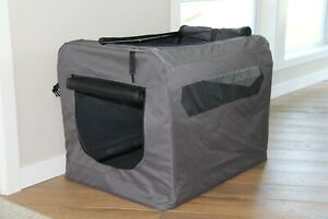 Medium Grey Soft Sided Portable Dog Crate Lightweight Travel Collapsible