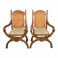 Pair Walnut 20th c. Carved and Caned Armchairs, seat