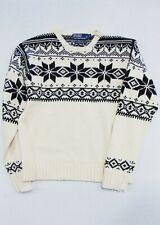 POLO RALPH LAUREN Men's S SWEATER Nordic Snowflake Cotton Angora Cashmere