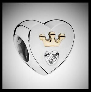 GENUINE AUTHENTIC PANDORA RETIRED Royal Hearts Silver/Gold Charm Item 791739CZ.