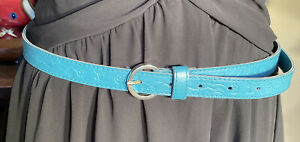 Fab Retro 90s Western Boho Aqua Blue floral Tooled Faux Leather buckle Belt 12