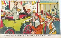 ".1914 SCARCE COMICAL ""JUST ARRIVED AT ROCKHAMPTON"" POSTCARD."
