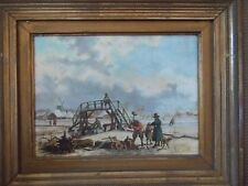 Snow ice work detail landscape antique original c1890 frame Signed oil painting