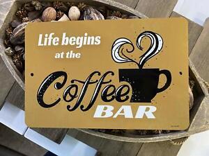 Life Begins At Coffee Bar - Inspirational Bar Sign - Lightweight Metal Sign