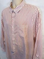Brooks Brothers Mens 2XL XXL Slim Fit Red White Striped Long Sleeve Button Shirt