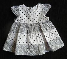 Baby clothes GIRL 0-3m Pumpkin Patch navy blue/white cotton dress daisies/spots