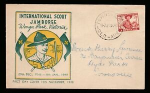 1948 SCOUT JAMBOREE PRE-DECIMAL STAMPS MILLER BROS. FIRST DAY COVER #O2