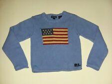 Ralph Lauren Vintage Rare Light Blue USA Flag Sweater Made In Japan Sz 6 6x girl