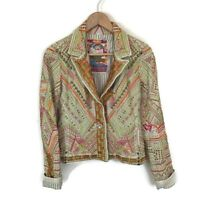 Johnny Was Biya Jacket S Green Orange Embroider Beaded Blazer Coat Women's