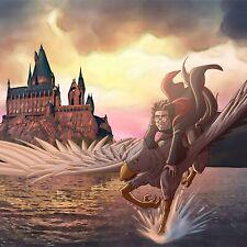 Harry Potter Flying on Buckbeak the Hippogriff over Hogwarts Lake Poster Print