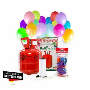 Ballongas Helium im Set mit 20 Luftballons, Einwegflasche Heliumgas Ballonschnur