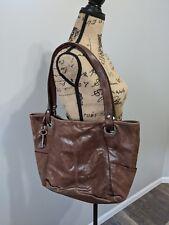 Vintage Fossil Brown Leather Shoulder Purse Handbag Tote Large