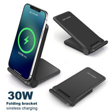 30W Cargador Inalámbrico Qi Rápido Plegable Almohadilla Soporte Para iPhone 12 Pro Xs Samsung S21