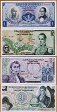 SET Colombia, 1;5;10;20 Pesos Oro, 1974-1982, P-404-407-408-409, UNC