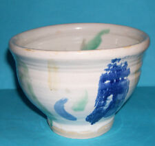 Studio Pottery - Attractive Single Footed Planter With Abstract Design (M.M).