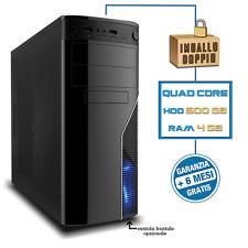 PC DESKTOP COMPUTER FISSO ASSEMBLATO Intel QUAD CORE 2.42 GHZ RAM 4GB 500GB