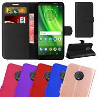 For Moto Motorola G7 - Premium Leather Wallet Flip Case Folio Stand Cover