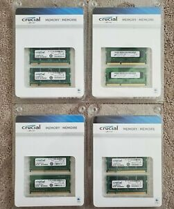Lot of 4 - Crucial 2GB DDR2-800 SODIMM Memory for Mac x2 Kit Brand New
