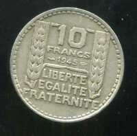 10 FRANCS  turin  1945 grosse tete  rameaux  court   ( RARE )