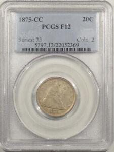 1875-CC LIBERTY SEATED TWENTY CENT PIECE - PCGS F-12