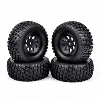 4Pcs RC 1:10 Short Course Truck Tires&Wheel 12mm Hex For TRAXXAS SLASH Car Truck