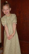Girl regency dress X- long full modest cotton green floral size M 7 8