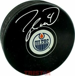 Taylor Hall Signed Autographed Edmonton Oilers Puck TRISTAR