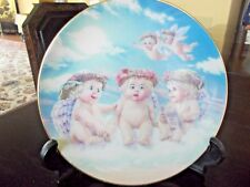 'The Flying Lesson' 1994 Dreamsicles Plate W/Stand, Signed, 5 Cherubs on Cloud!