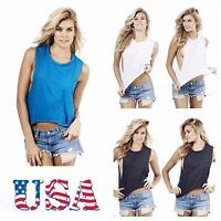 Made USA Women T-Shirt Casual Sleeveless Tops Gym Muscle Crop Tank Top Beachwear