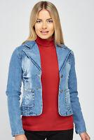 Womens Blue Denim Jacket Ladies Stretch Distressed Coat Sizes UK 6 8 10 12 14 16
