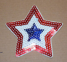 SEQUIN usa american red white blue star hotfix Sew on Applique Motif Patch