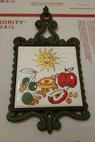 Vintage Trivet Cast Iron and Ceramic Tile Retro Smiling Sun w Fruit
