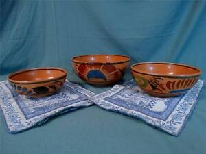 Amazing Group of 3 Vintage Antique Southwestern Folk Art AZ/NM Handmade Bowls