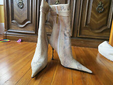 FASHION PYMES WOMENS HIGH HEELED BOOTS FAUX SNAKESKIN AND COW HAIR  ZIPPER SZ 36