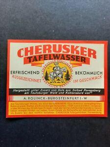 Bieretikett, Etikett Cherusker Tafelwasser Brauerei A.Rolinck Burgsteinfurt