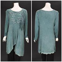 Womens Zedd Plus Tunic Long Sleeve Green Viscose Lagenlook Size 2 / UK14