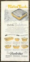 1953 Glasbake Basketware Print Ad For a Festive Touch Oven Range Patioware