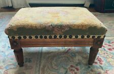 Antique French Louis Xvi Style Carved Wood Floral Needlepoint Footstool